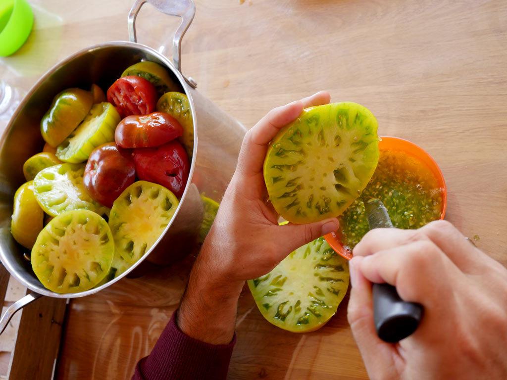 Récupération des graines de tomates